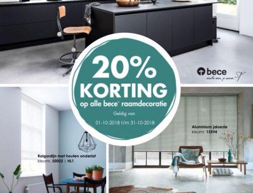 20% korting op alle raamdecoraties van Bece!