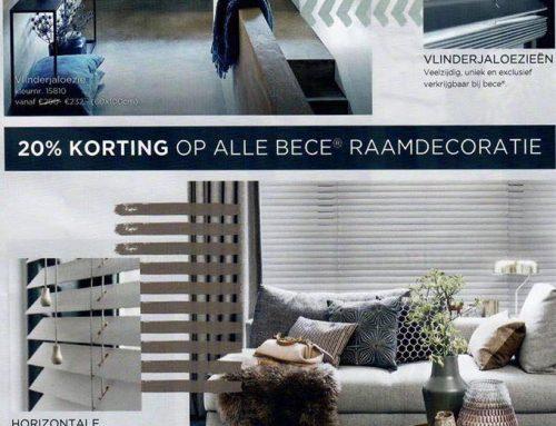 20% korting op alle raamdecoratie van Bécé.